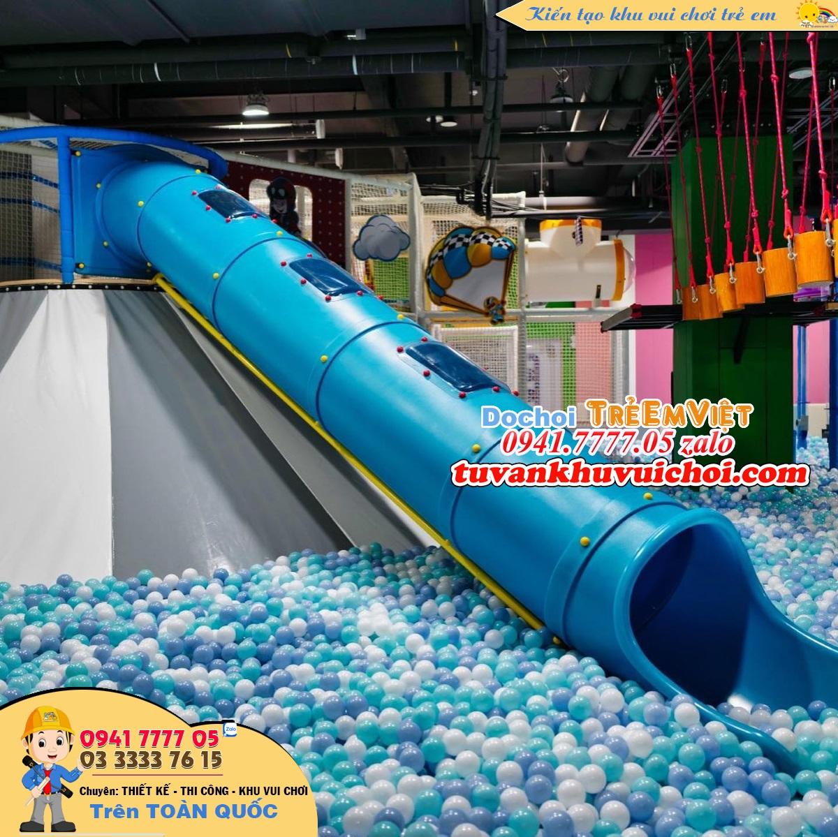 Đồ chơi trẻ em trong khu vui chơi, ống trượt núi lửa dài 5.5m