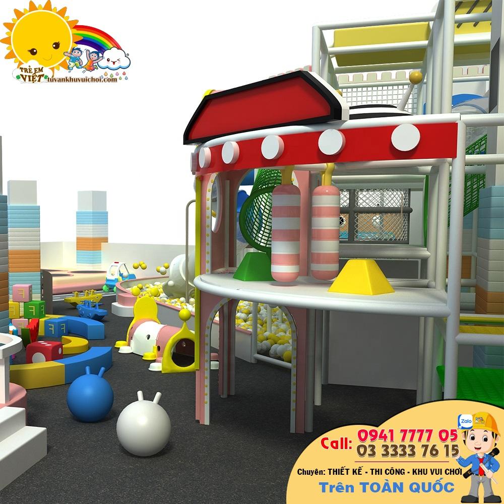 Các đồ chơi rời phía trước khu vui chơi liên hoàn, những trò chơi này dành cho bé nhỏ làm thêm phong phú đồ chơi bên trong trung tâm vui chơi thiếu nhi trong nhà.