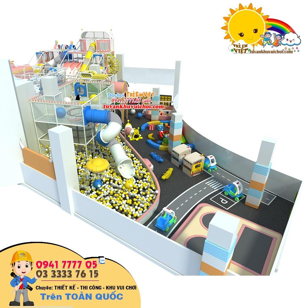 Tổng quan toàn sân chơi trẻ em trong nhà, với chiều cao tối đa 6m.