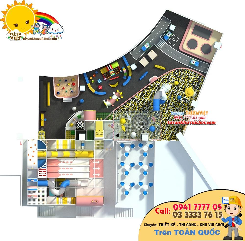 Nhìn từ trên xuống sẽ thấy toàn cảnh bố trí đồ chơi, trò chơi trong trung sân chơi trẻ em trong nhà.