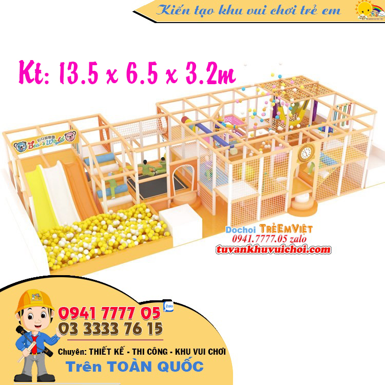 Thiết kế khu vui chơi liên hoàn diện tích 90m2.