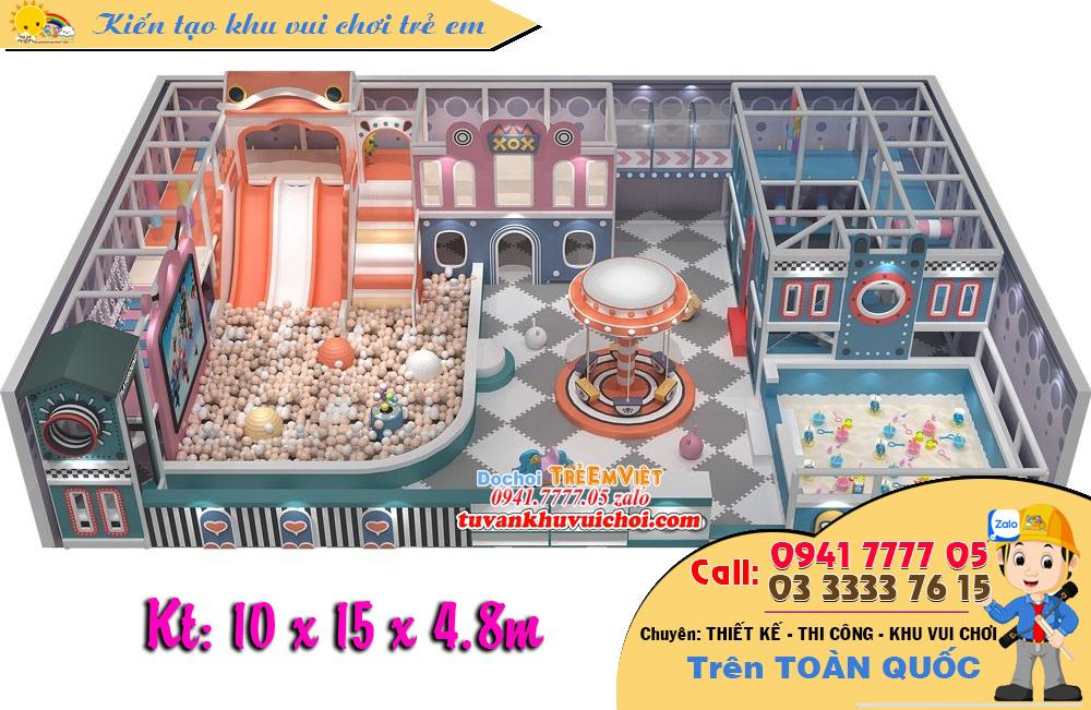 Thiết kế khu vui chơi trẻ em, nhà bóng liên hoàn theo chủ đề Pastle, diện tích 150m2.