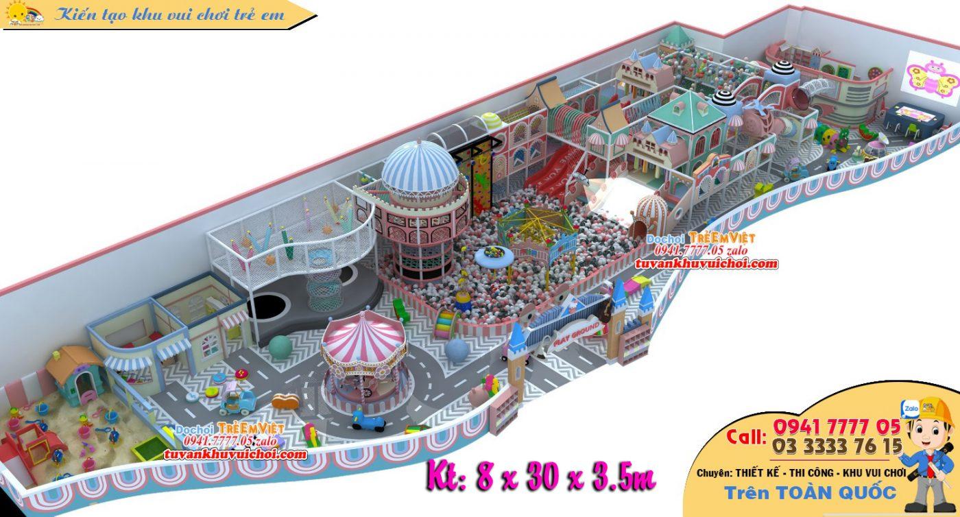 Thiết kế trung tâm vui chơi trẻ em trong nhà, nhà bóng liên hoàn, cầu trượt, các đồ chơi hấp dẫn diện tích 250m2.