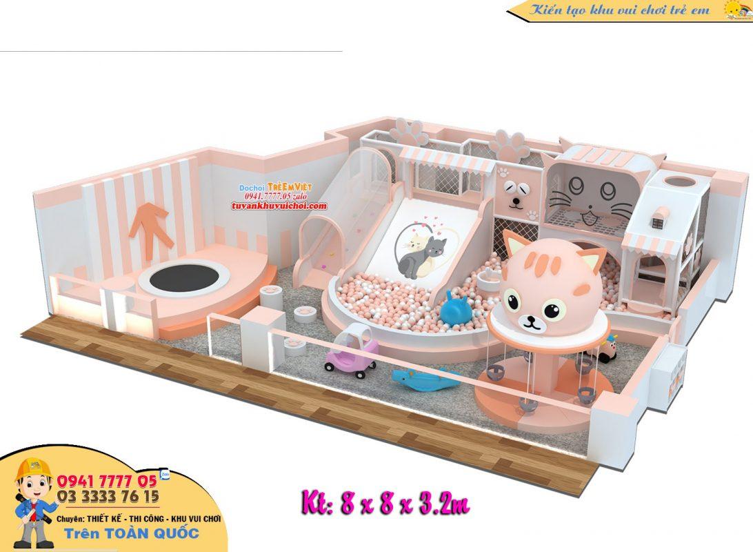 Nhà liên banh cho bé chủ chú mèo con với diện tích 64m2.