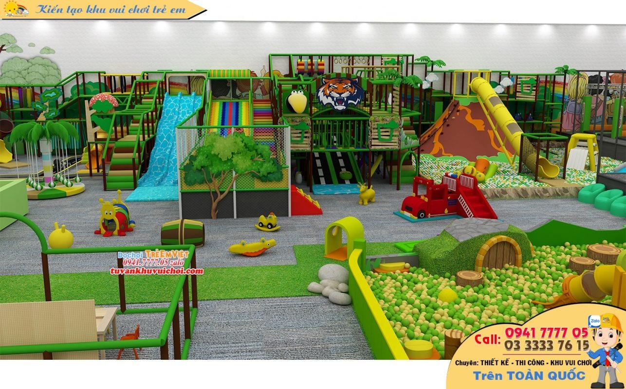Thiết kế trung tâm vui chơi thiếu nhi trong nhà theo chủ đề rừng xanh.