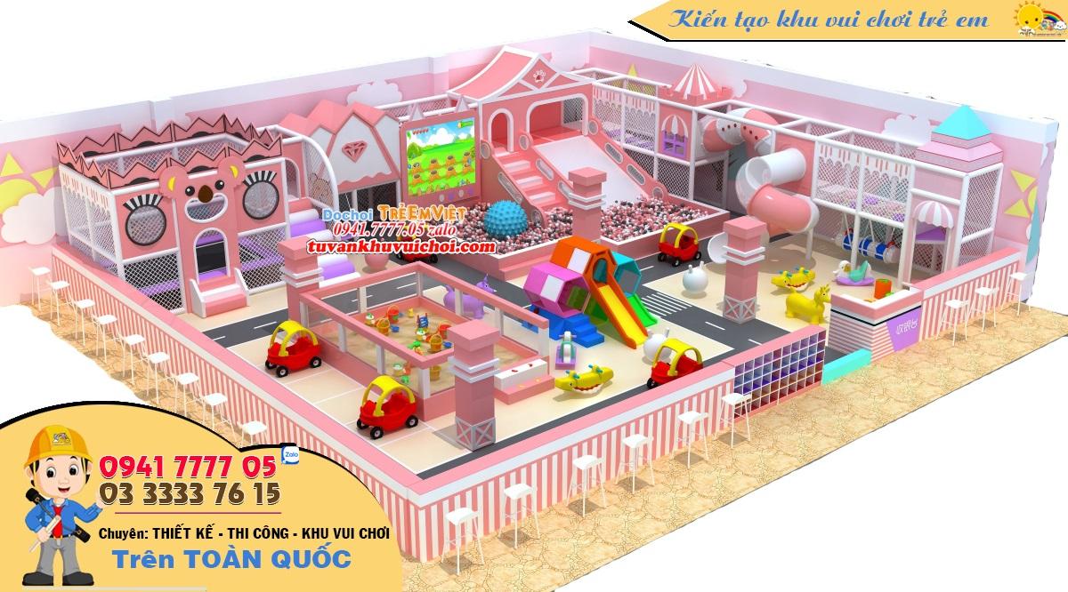 Khu vui chơi liên hoàn trong nhà tone hồng baby.