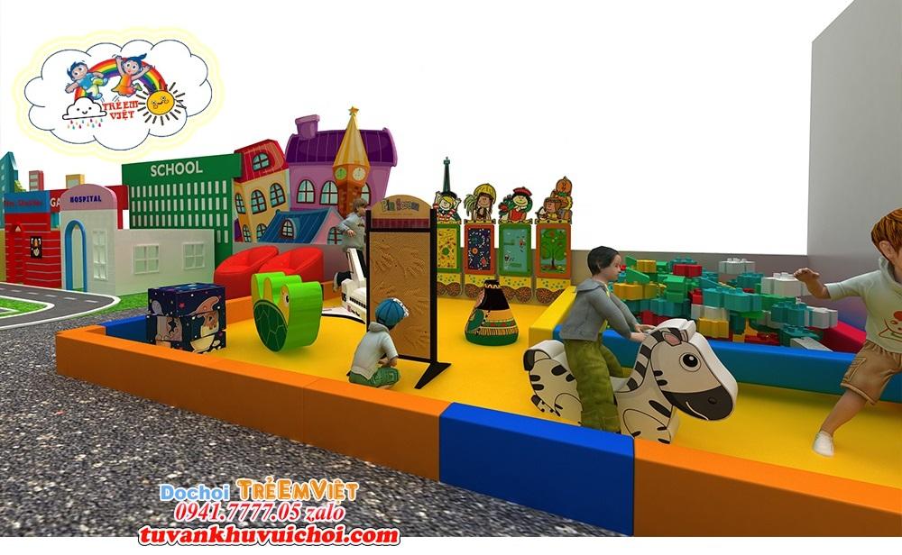 Khu vực đồ chơi mềm dành cho em bé nhỏ, tuổi từ 2 đến 4 tuổi.
