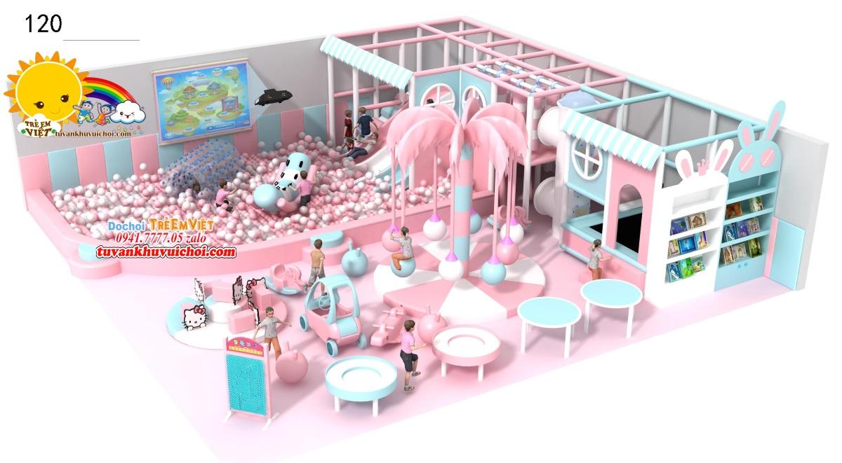 Nhà bóng liên hoàn trong nhà trang trí theo tone hồng nhẹ nhàng.
