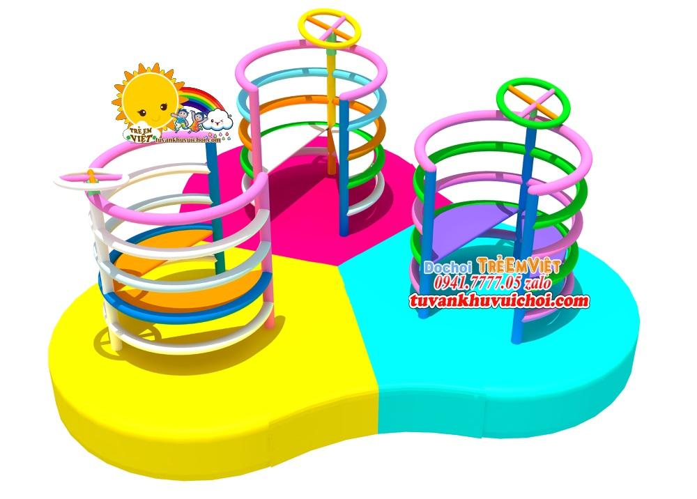 Bản thiết kế 3D mô phỏng mâm xoay 3 vòng tròn