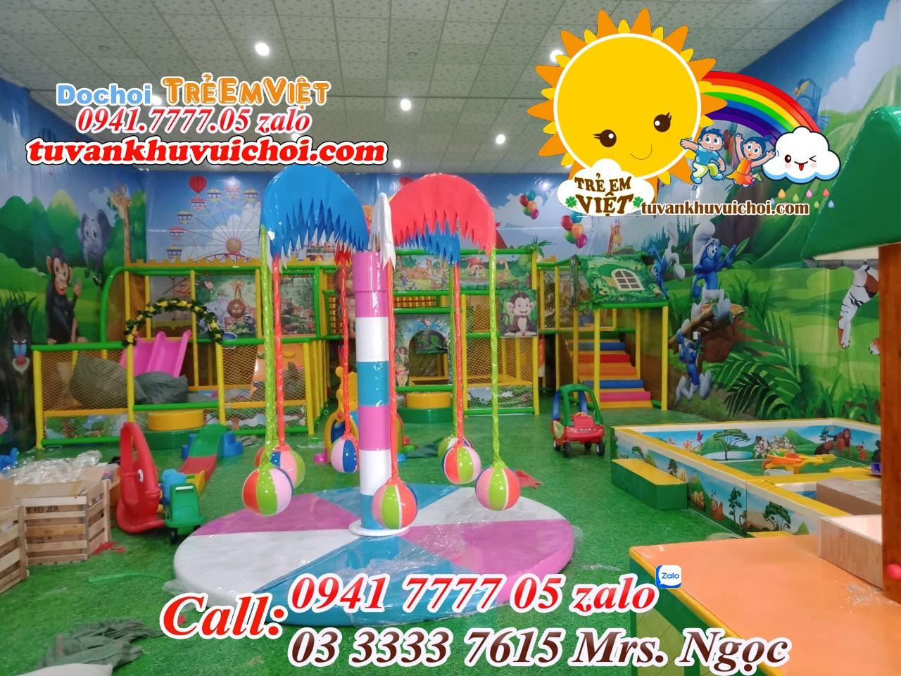 Hình ảnh thực tế đu quay dừa ở công trình lắp đặt khu vui chơi trẻ em