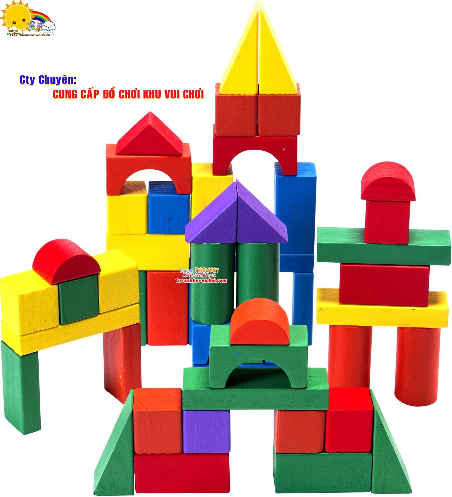 Lego hình học được làm từ gỗ thông