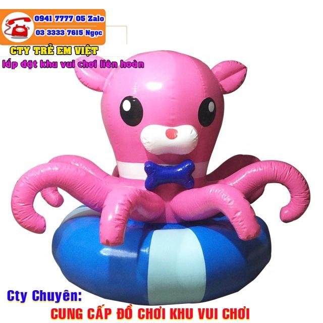 Mâm xoay điện bằng hơi hình con bạch tuột màu hồng.