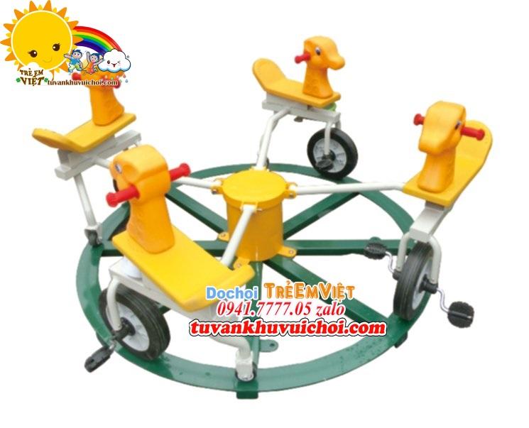 Mâm xoay xe đạp 4 chỗ ngồi hình con ngựa