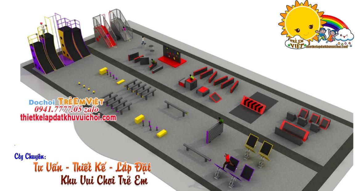 Bản thiết kế 3D toàn khu vui chơi vận động NIJA COURSE for Kids.