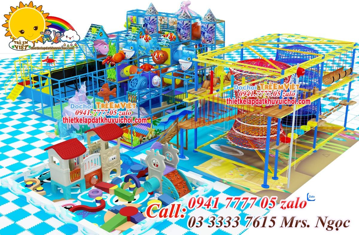 Thiết kế mô hình khu vui chơi trẻ em trong nhà, nhà bóng liên hoàn.