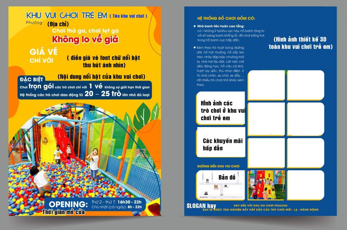 Những thông tin cần thiết trên tờ rơi khu vui chơi trẻ em