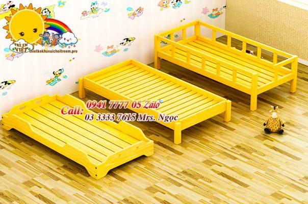 giường gỗ mẩu giáo